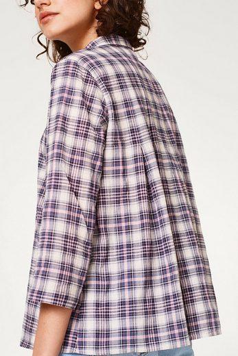 ESPRIT Luftige Karo-Bluse mit rückseitigen Fältchen