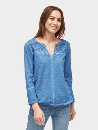Tom Tailor Blusenshirt Shirt mit Volantärmeln und Lochstickerei