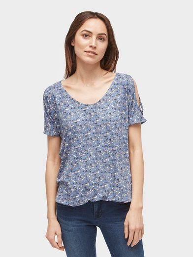 Tom Tailor T-Shirt gemustertes Cold-Shoulder-Shirt