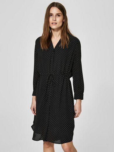 Selected Femme Gepunktetes Kleid mit langen Ärmeln