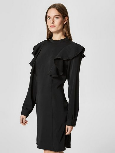 Selected Femme Volant Dress With Long Sleeves
