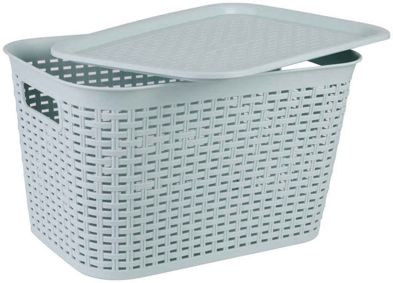 axentia Aufbewahrungskorb »Korb aus Kunststoff, groß«, mit Deckel