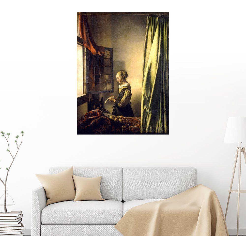 Posterlounge Wandbild - Jan Vermeer »Brieflesendes Mädchen am offenen Fenster«