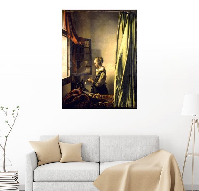 Posterlounge Wandbild - Jan Vermeer »Brieflesendes Mädchen am offenen Fenster« | Dekoration > Bilder und Rahmen > Bilder | Posterlounge