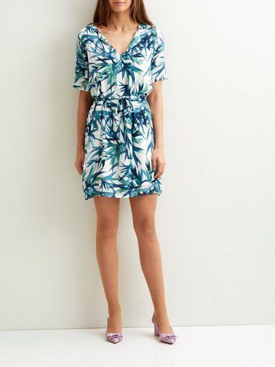 OBJECT Gemustertes Kleid mit kurzen Ärmeln