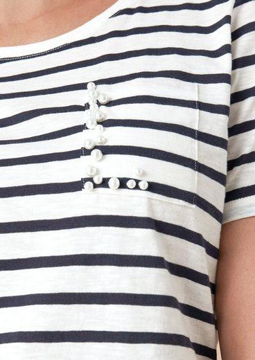 TRIANGLE Streifenshirt mit Schmuckperlen