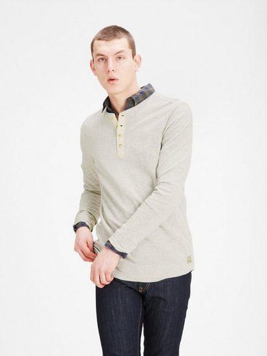 Jack & Jones Melange-Grandad- T-Shirt mit langen Ärmeln