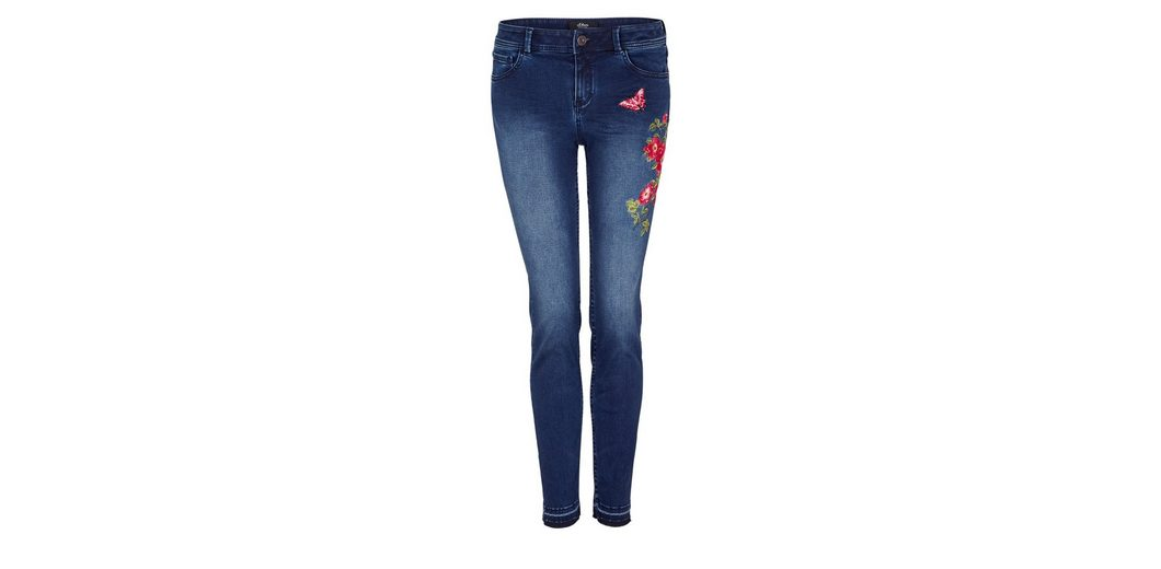 s.Oliver BLACK LABEL Sienna Slim: Embroidery-Jeans Billig Wirklich Billig Zahlung Mit Visa XqF05Cu