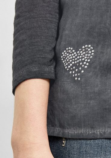 Q/S designed by Garment Dye-Bluse mit Artwork