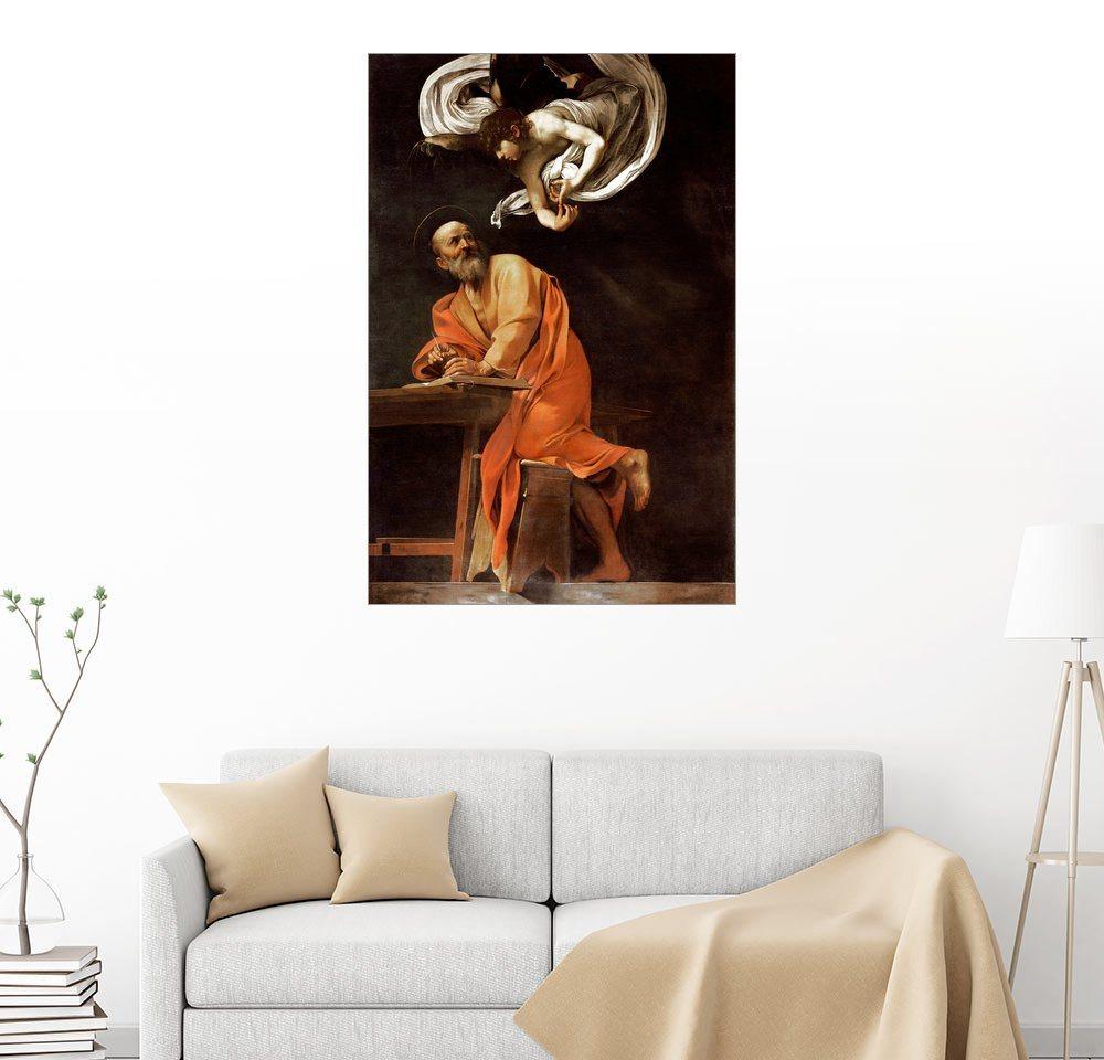 Posterlounge Wandbild - Michelangelo Merisi (Caravaggio) »Die Inspiration von St Matthew« | Dekoration > Bilder und Rahmen > Bilder | Holz | Posterlounge