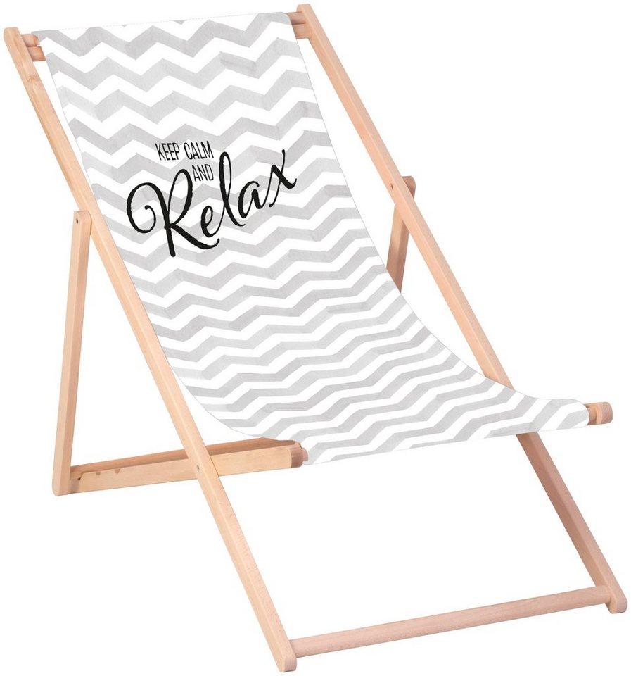 queence gartenstuhl keep calm and relax sonnenstuhl 120 x 60 cm online kaufen otto. Black Bedroom Furniture Sets. Home Design Ideas
