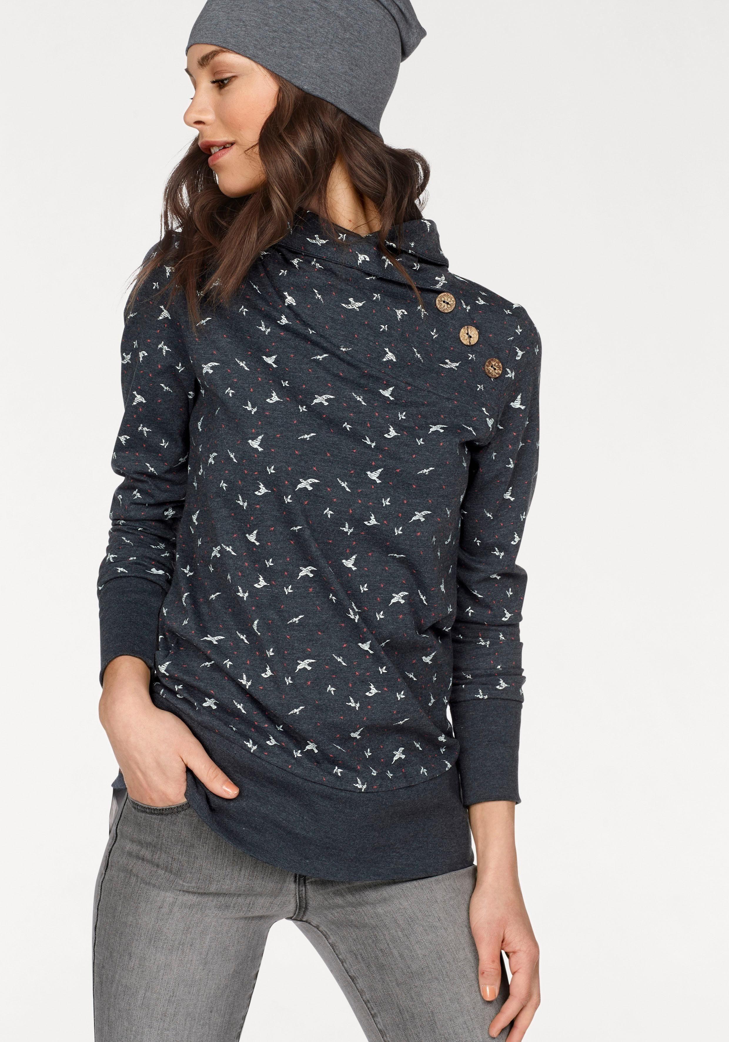 NAVIGAZIONE blu Longsweatshirt leichtes Sweatshirt aus Jersey, allover bedruckt