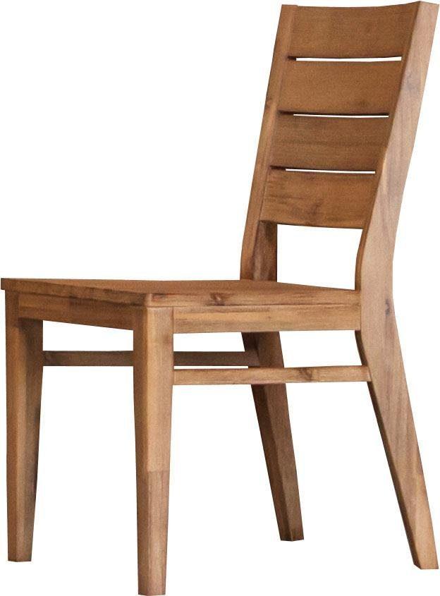 Quadrato Stuhl »Castle«, im 2er-Set, Rücken des Stuhls mit toller Akazienholzoptik, Sitzhöhe 45 cm