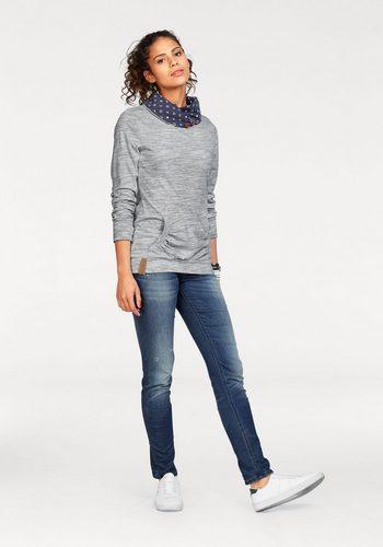 - Damen KangaROOS Sweatshirt mit weitem bedrucktem Kragen und Känguru-Tasche vorn blau   08940002037845