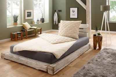 Naturhaarbettdecke, »Lammflor«, f.a.n. Schlafkomfort, Füllung: 97% Wolle, 3% sonstige Fasern, Bezug: Oberseite: 100% Wolle, Unterseite: 100% Baumwolle, hohe klimaregulierende Wirkung