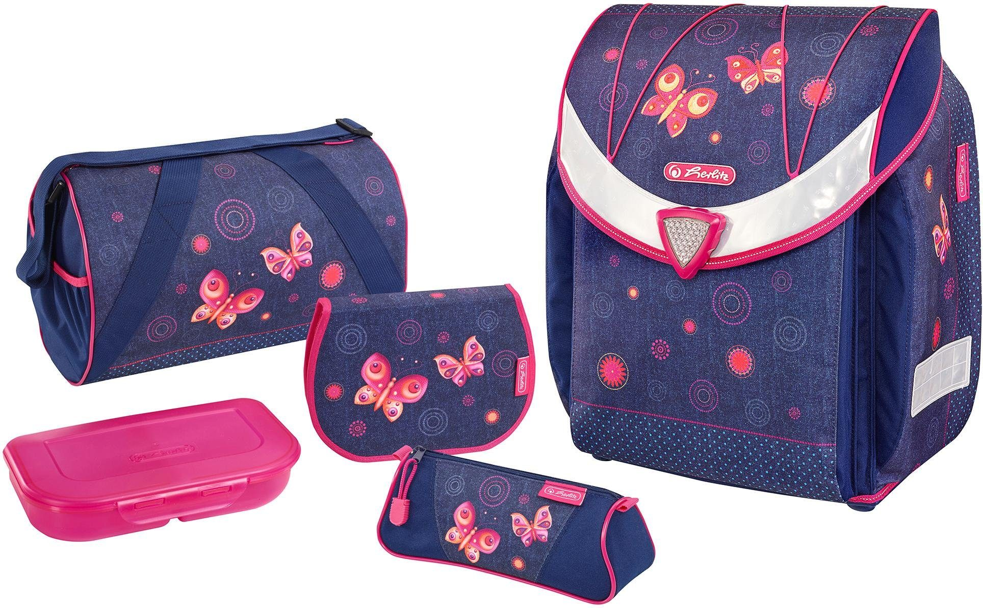 Herlitz Schulranzen Set, 5-tlg., »Flexi Plus, Butterfly Dreams«
