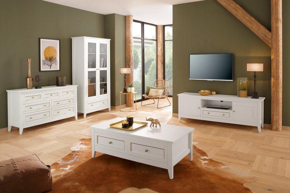home affaire kommode victoria 3 kleine und 4 gro e schubladen mit sch ner goldener umrandung. Black Bedroom Furniture Sets. Home Design Ideas