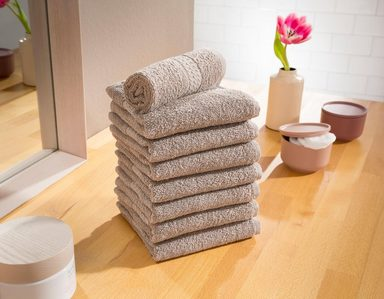 Waschlappen »Juna«, my home, mit feiner Strukturbordüre (8 Stück)