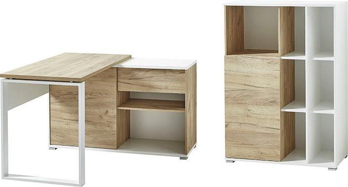 Germania Büromöbel-Set GW-Lioni (2-tlg.) | Büro > Büromöbel-Serien | Weiß - Glanz | Spanplatte - Eiche - Abs - Metall - Melamin | GERMANIA