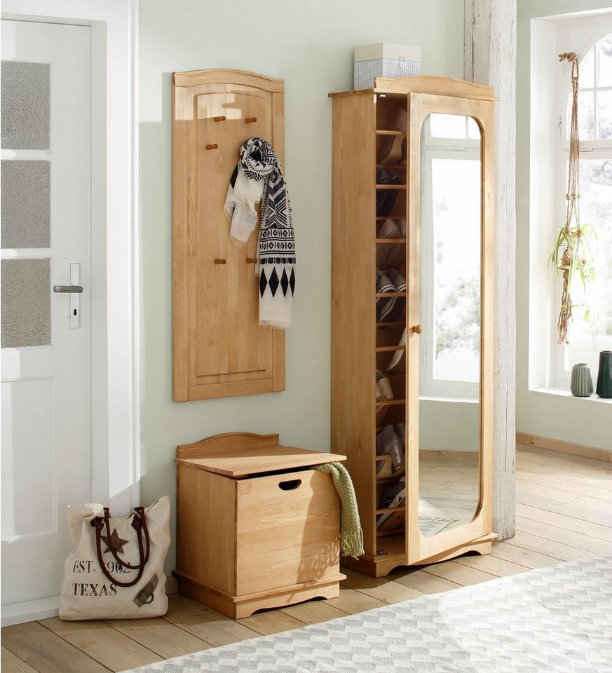 home affaire schuhschrank broga aus massiver kiefer mit spiegelt r online kaufen otto. Black Bedroom Furniture Sets. Home Design Ideas