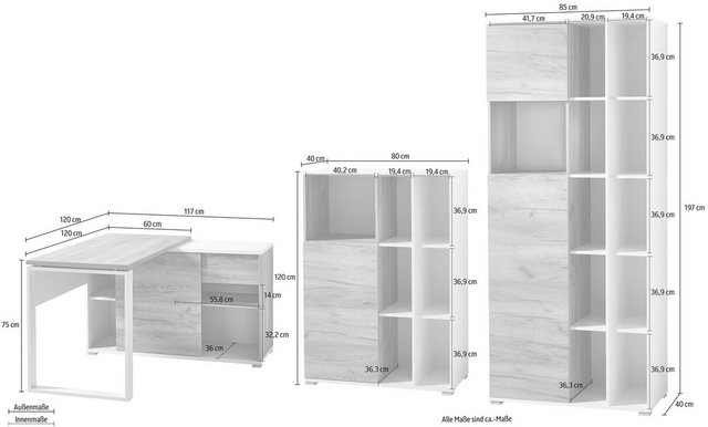 Büromöbel Sets - GERMANIA Büro Set »GW Lioni«, (Set, 4 tlg)  - Onlineshop OTTO