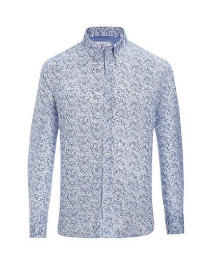 Bugatti Long-sleeved Shirt, With Blue Flower Pattern