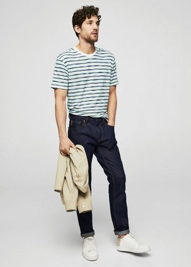 MANGO MAN Striped slub T-shirt