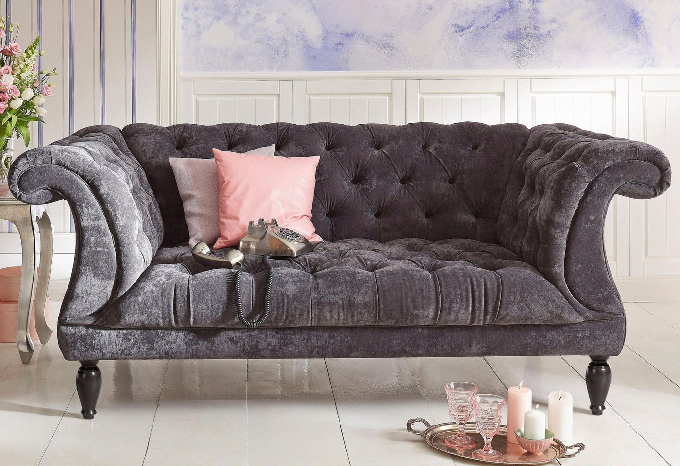grau samt chesterfield sofas online kaufen m bel. Black Bedroom Furniture Sets. Home Design Ideas