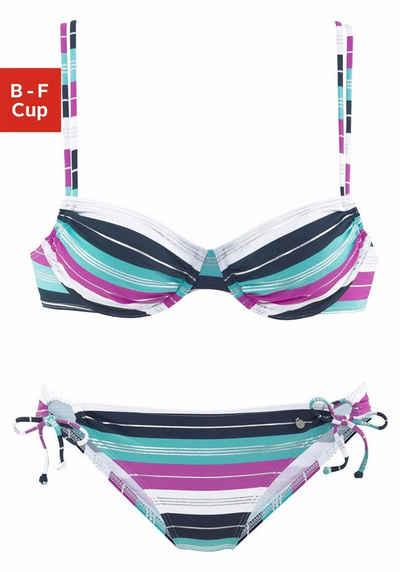 Bügel-Bikini mit silberfarbenen Glanzstreifen