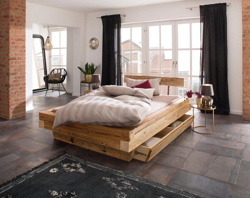 Premium Collection By Home Affaire Bett »Kaya« Aus Recyceltem Antiken Holz  In 3 Größen