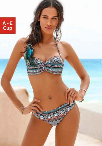 34 36 40 42 Bademode O`NEILL Marken Bügel Bandeau Bikini schwarz bunt Cup B Gr