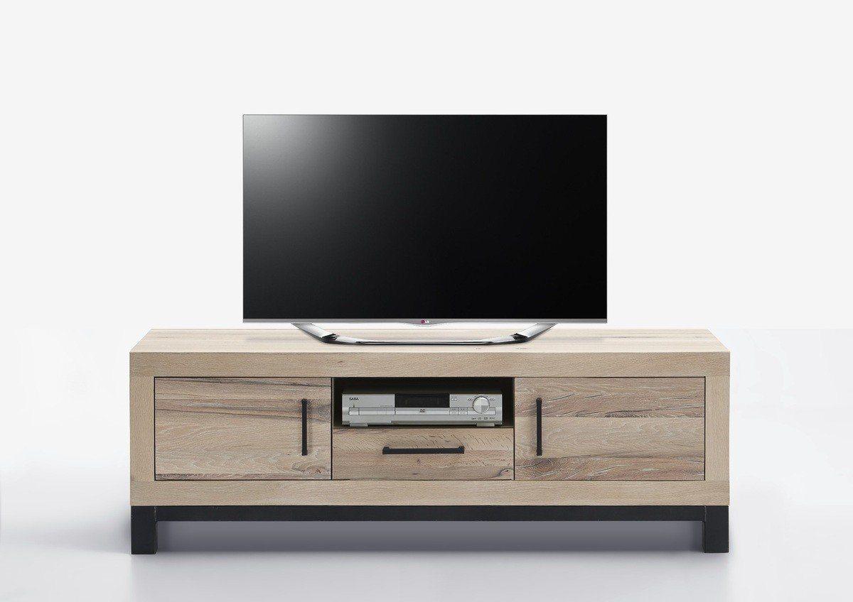 Kasper-Wohndesign  TV-Board 1 Schublade Massivholz Eiche sand NELA braun | 04250385968563