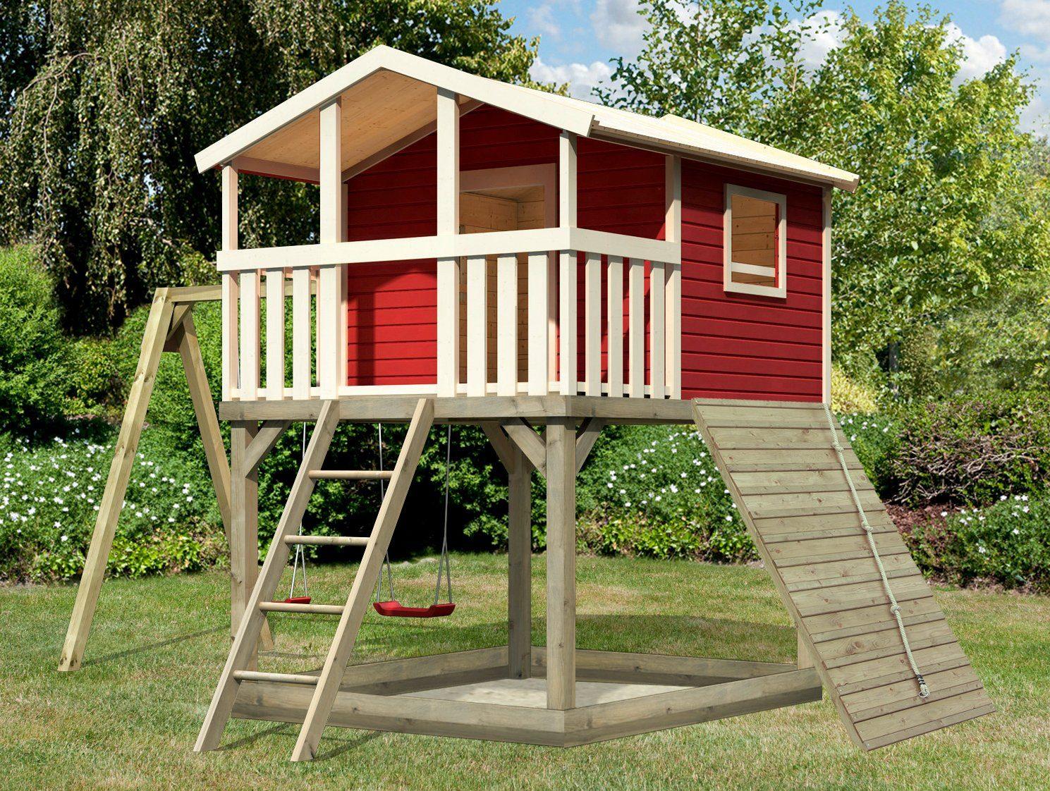 KARIBU Spielturm »Unfug 16«, BxT: 470x339 cm, mit Sandkasten, Doppelschaukel, Holzrampe