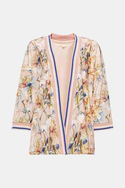 ESPRIT Kimono-Jacke mit Floralprint aus samtigem Nicki