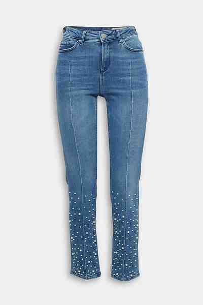 ESPRIT Stretch-Jeans mit Dekor aus verschiedenen Perlen