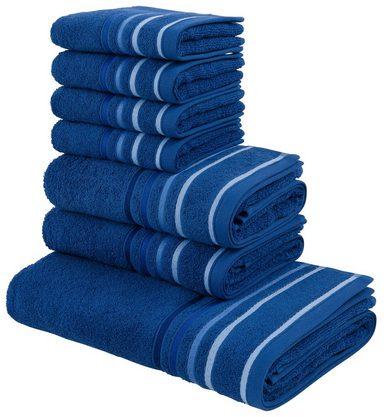 my home Handtuch Set »Niki«, mit Streifenbordüren (7tlg.-Set)
