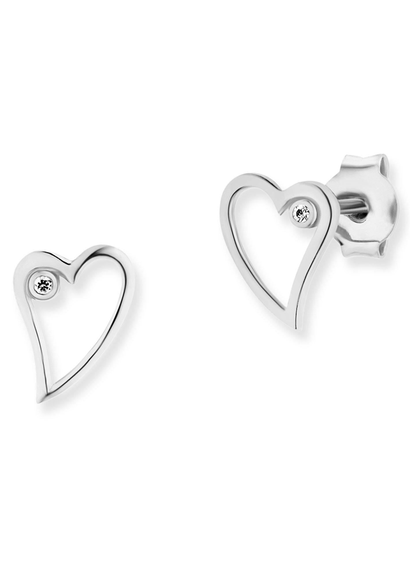 CAÏ Paar Ohrstecker »caï love, Herz, swingin heart, C7380E/90/03/« mit Zirkonia