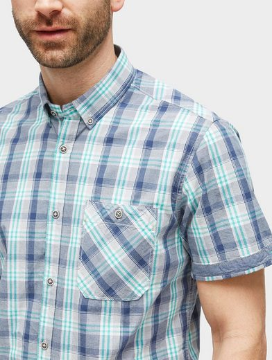 Tom Tailor Short-sleeved Shirt Plaid Short-sleeved Shirt With Chest Pocket