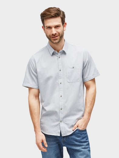 Tom Tailor Kurzarmhemd gemustertes Kurzarmhemd mit Brusttasche