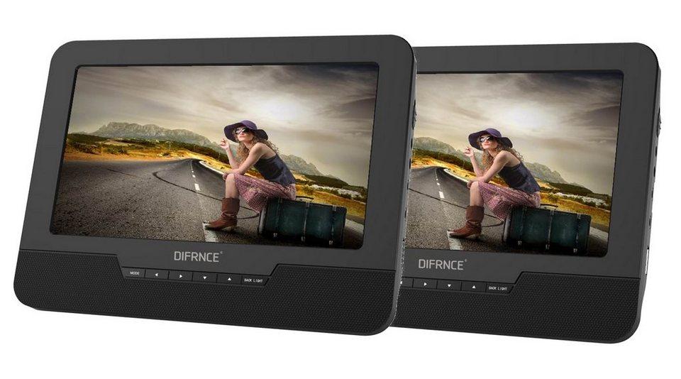 difrnce set 2 x tragbarer 9 dvd player mit usb sd. Black Bedroom Furniture Sets. Home Design Ideas