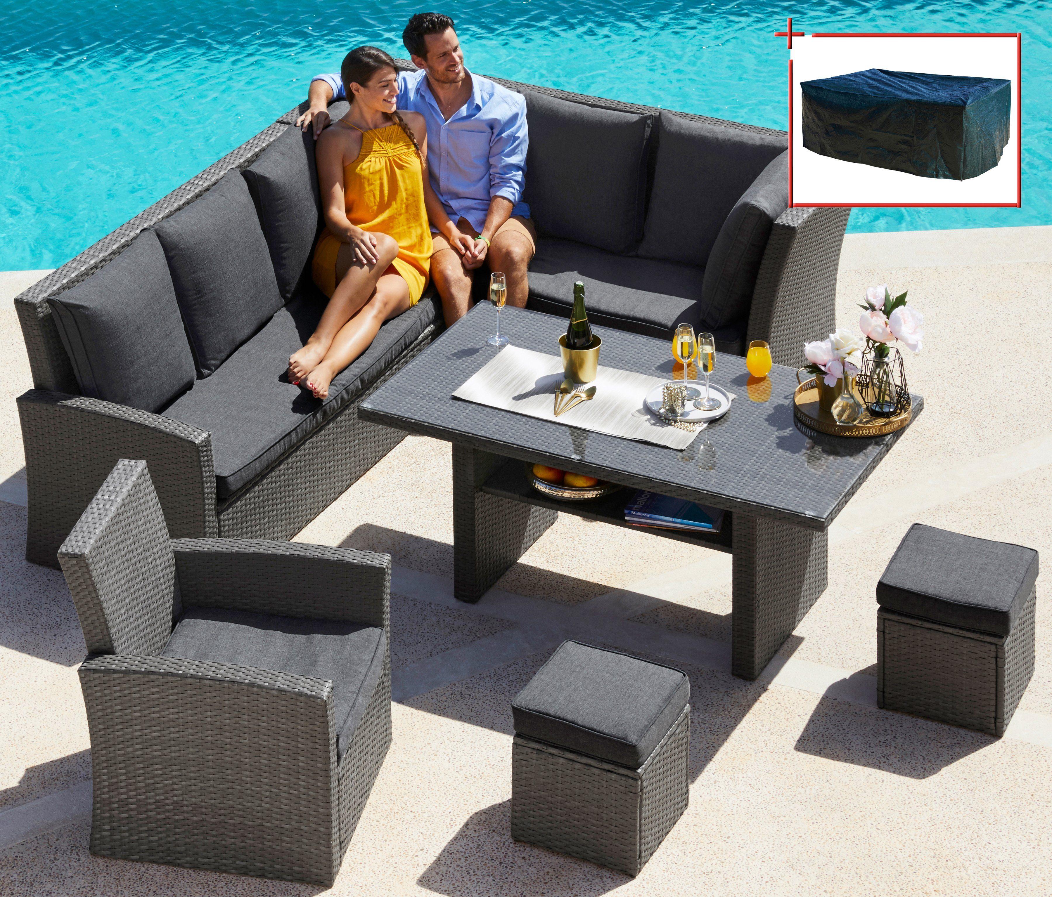Loungeset »Santorini Premium«, 20-tlg. Eckbank, Sessel, 2 Hocker, Tisch, Polyrattan