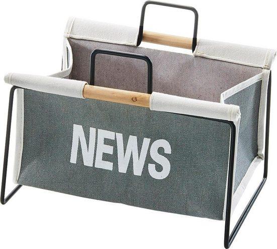 locker Zeitungsständer »Zeitungsständer aus Metall, schwarz und Canvas grau«