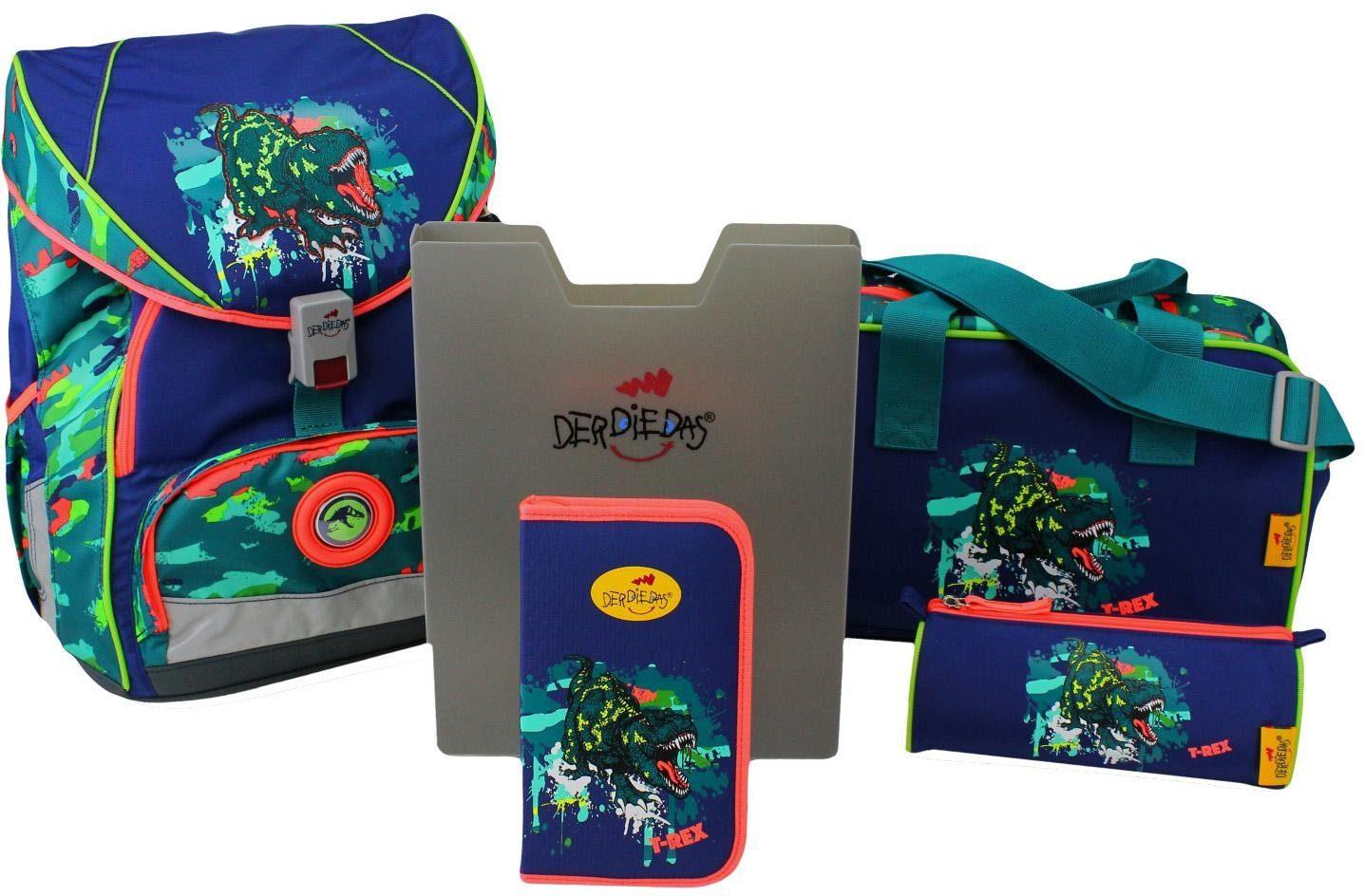 DerDieDas Schulrucksack Set (5-tlg.), »ErgoFlex XL - T-Rex«
