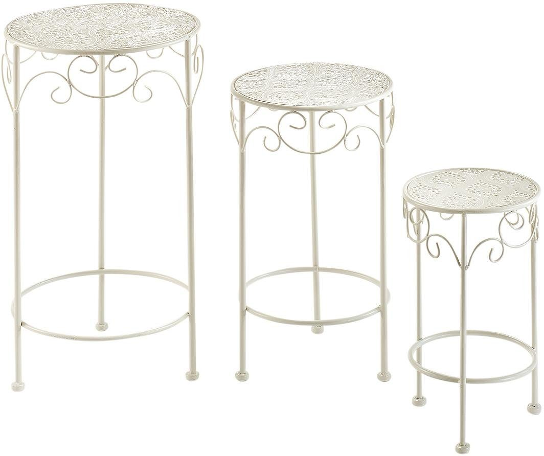 Home affaire Pflanzenständer rund, cream, Metall (3er Set)