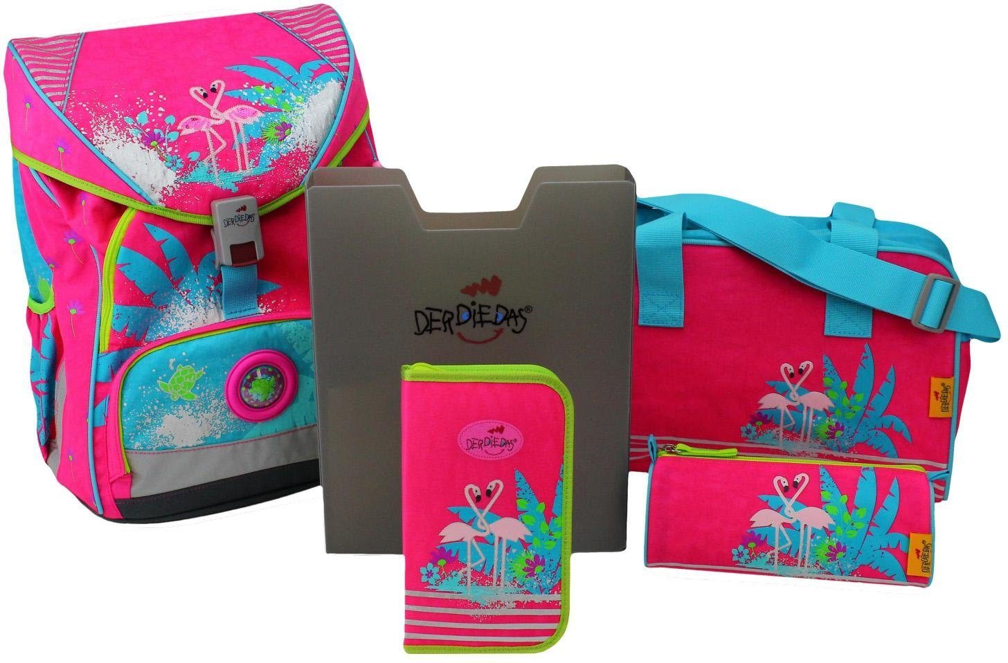 DerDieDas Schulrucksack Set (5-tlg.), »ErgoFlex XL - Flamingo«