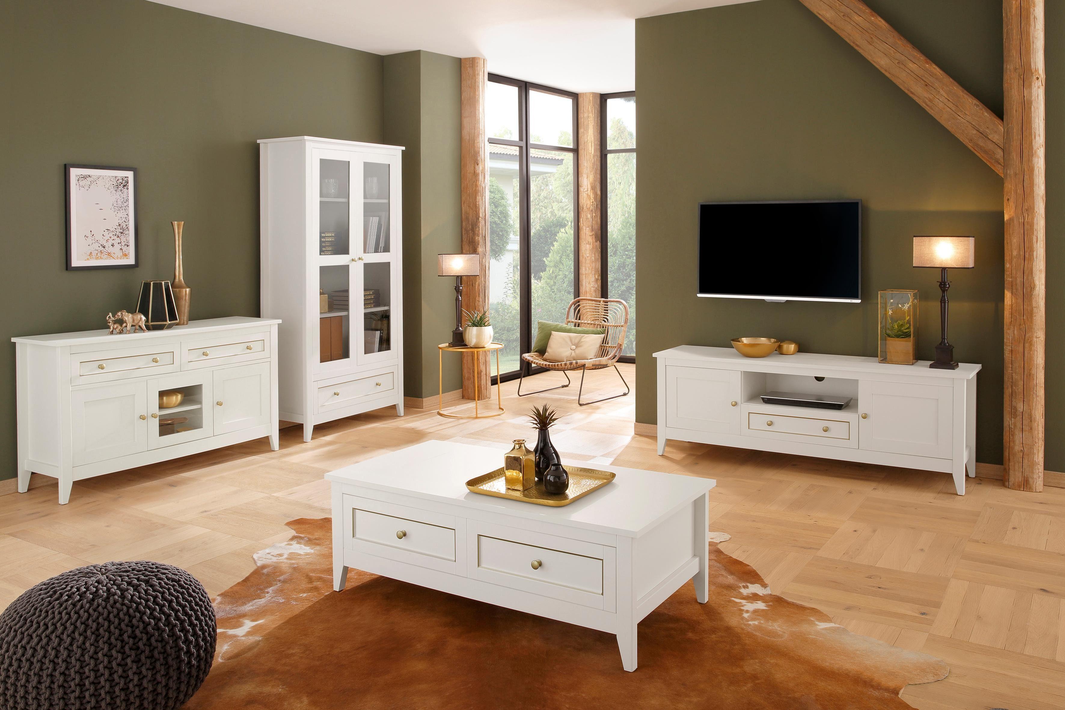 Home affaire Sideboard »Victoria«, 2 Schubladen mit goldener Umrandung und 3 Türen mit Messinggriffe, Breite 131 cm