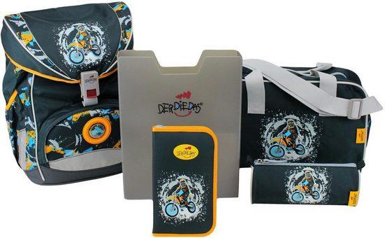 DerDieDas® Schulrucksack »ErgoFlex - Dirt Bike« (Set, 5)