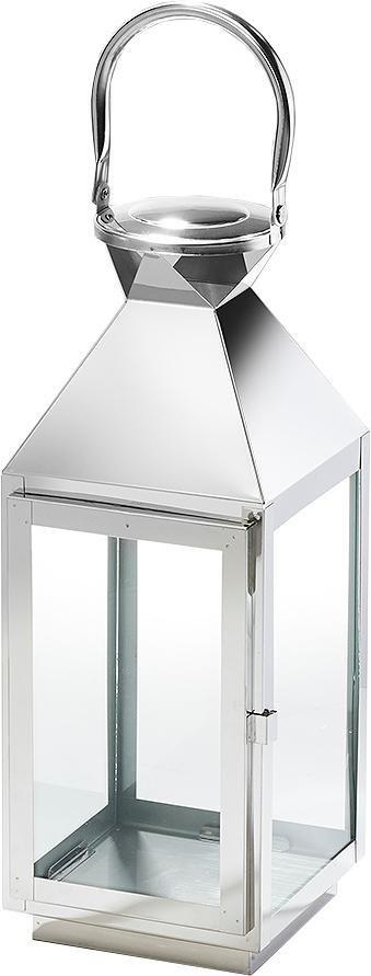 Laterne »Cannes« aus Glas und Edelstahl mit einem Henkelgriff