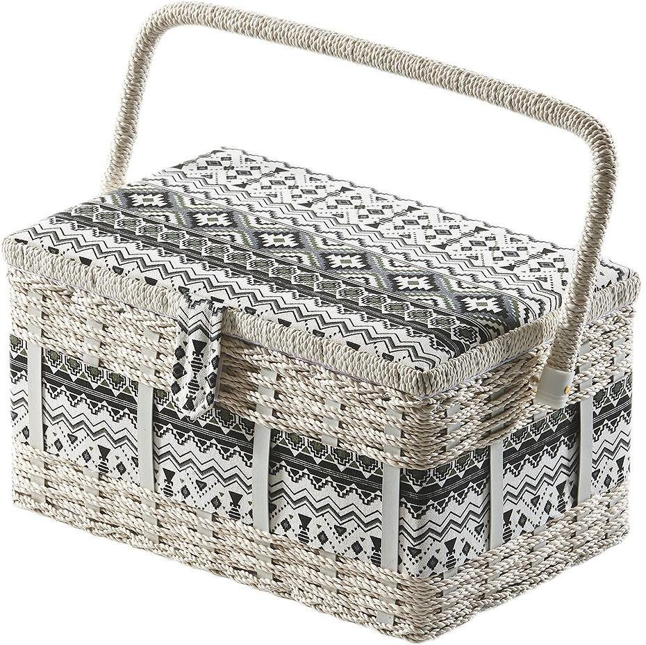 Home affaire Nähkästchen, eckig, aus Kunststoff und Textil mit schwarz weißem Muster | Dekoration > Aufbewahrung und Ordnung > Kästchen | Home affaire