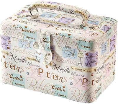 locker Nähkästchen, rechteckig, Textil WORDS mit Griff aus Stoff